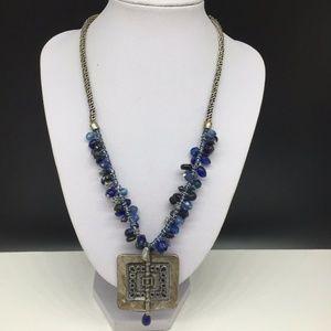 Chico's Blue Glass Beaded Enamel Pendant Necklace